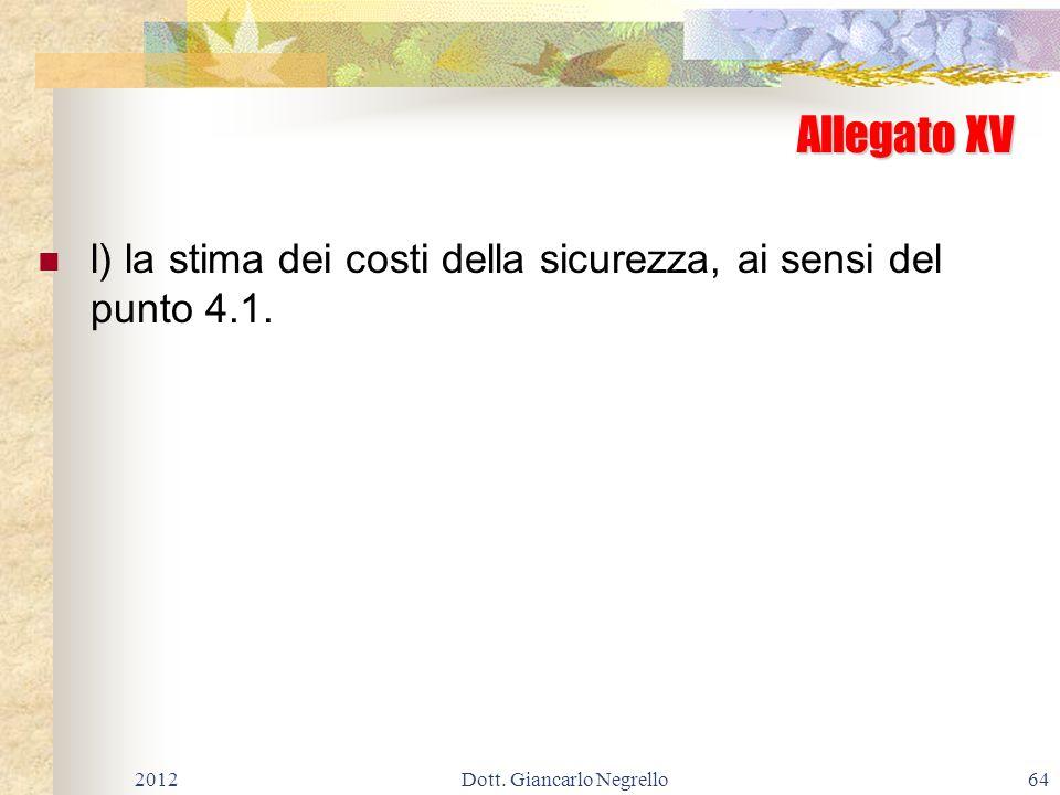 Allegato XV l) la stima dei costi della sicurezza, ai sensi del punto 4.1. 201264Dott. Giancarlo Negrello