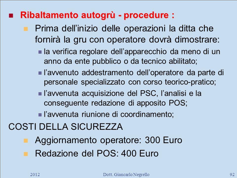 Ribaltamento autogrù - procedure : Ribaltamento autogrù - procedure : Prima dellinizio delle operazioni la ditta che fornirà la gru con operatore dovr