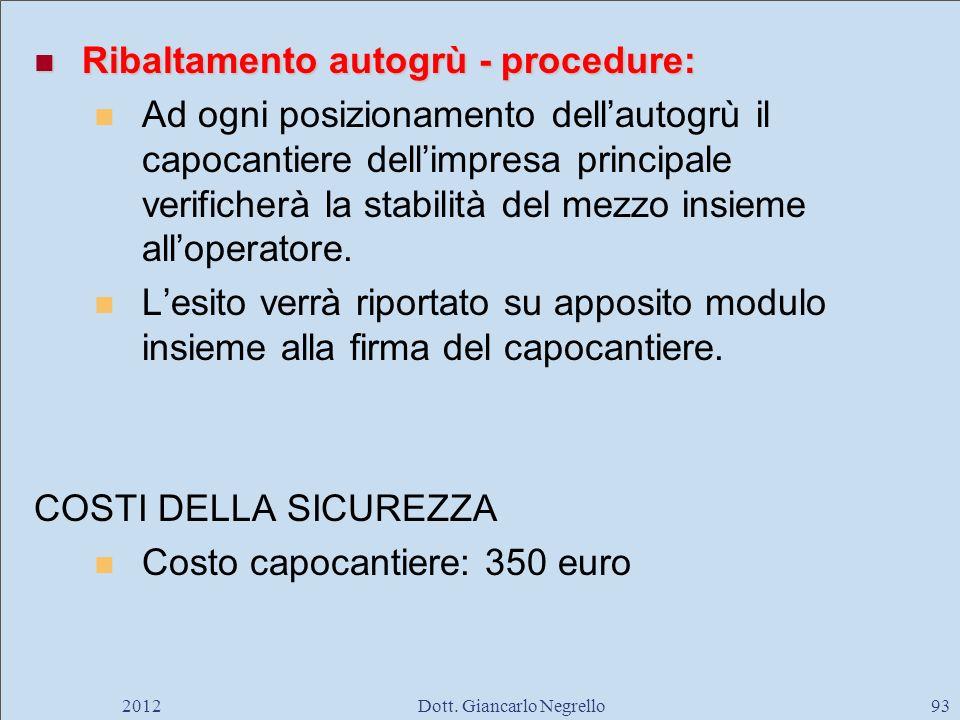 Ribaltamento autogrù - procedure: Ribaltamento autogrù - procedure: Ad ogni posizionamento dellautogrù il capocantiere dellimpresa principale verifich