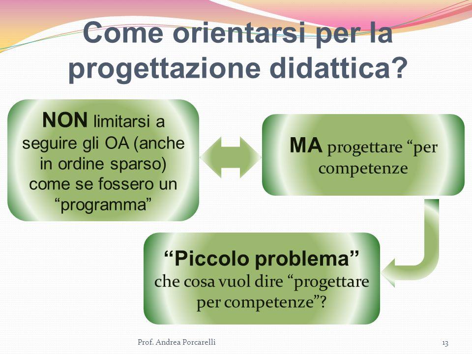 Come orientarsi per la progettazione didattica? Prof. Andrea Porcarelli13 NON limitarsi a seguire gli OA (anche in ordine sparso) come se fossero un p