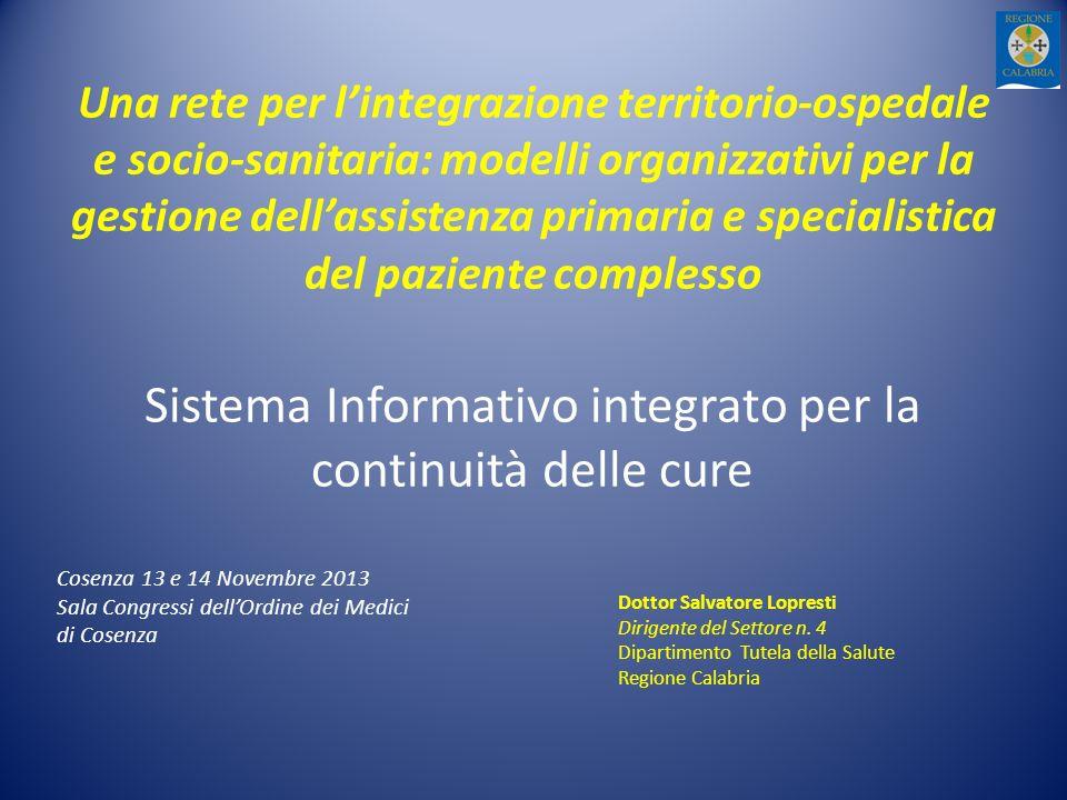 Una rete per lintegrazione territorio-ospedale e socio-sanitaria: modelli organizzativi per la gestione dellassistenza primaria e specialistica del pa