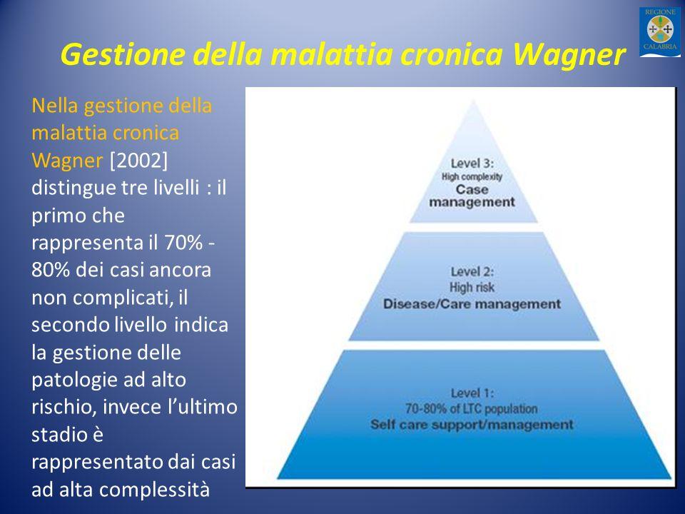 Gestione della malattia cronica Wagner Nella gestione della malattia cronica Wagner [2002] distingue tre livelli : il primo che rappresenta il 70% - 80% dei casi ancora non complicati, il secondo livello indica la gestione delle patologie ad alto rischio, invece lultimo stadio è rappresentato dai casi ad alta complessità