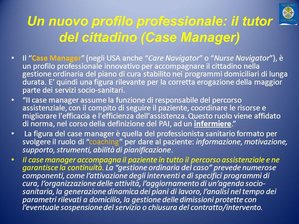 Un nuovo profilo professionale: il tutor del cittadino (Case Manager) Il Case Manager (negli USA anche Care Navigator o Nurse Navigator), è un profilo professionale innovativo per accompagnare il cittadino nella gestione ordinaria del piano di cura stabilito nei programmi domiciliari di lunga durata.