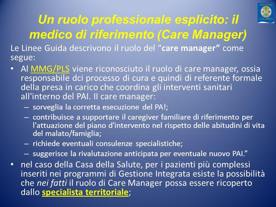 Un ruolo professionale esplicito: il medico di riferimento (Care Manager) Le Linee Guida descrivono il ruolo del care manager come segue: Al MMG/PLS v