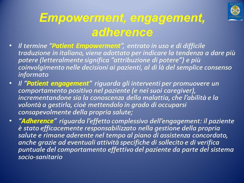 Empowerment, engagement, adherence Il termine Patient Empowerment, entrato in uso e di difficile traduzione in italiano, viene adottato per indicare la tendenza a dare più potere (letteralmente significa attribuzione di potere) e più coinvolgimento nelle decisioni ai pazienti, al di là del semplice consenso informato Il Patient engagement riguarda gli interventi per promuovere un comportamento positivo nel paziente (e nei suoi caregiver), incrementandone sia la conoscenza della malattia, che labilità e la volontà a gestirla, cioè mettendolo in grado di occuparsi consapevolmente della propria salute; Adherence riguarda leffetto complessivo dellengagement: il paziente è stato efficacemente responsabilizzato nella gestione della propria salute e rimane aderente nel tempo al piano di assistenza concordato, anche grazie ad eventuali attività specifiche di sollecito e di verifica puntuale del comportamento effettivo del paziente da parte del sistema socio-sanitario
