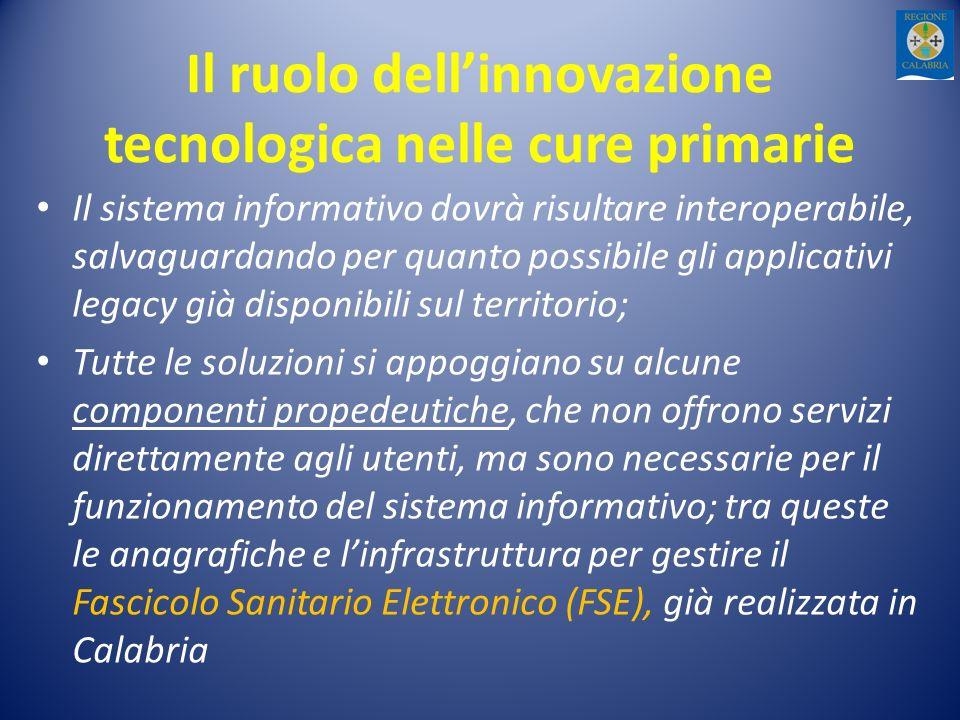Il ruolo dellinnovazione tecnologica nelle cure primarie Il sistema informativo dovrà risultare interoperabile, salvaguardando per quanto possibile gl