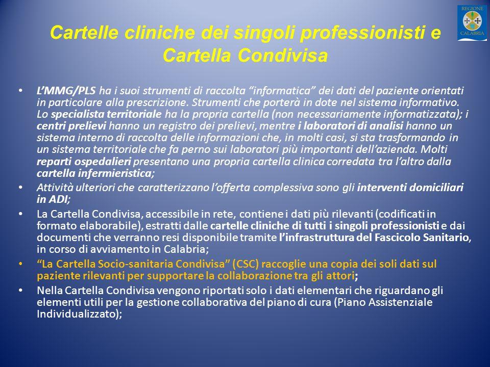 Cartelle cliniche dei singoli professionisti e Cartella Condivisa LMMG/PLS ha i suoi strumenti di raccolta informatica dei dati del paziente orientati