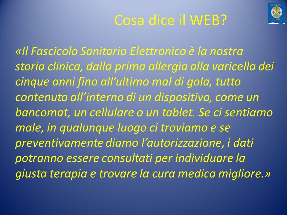 Cosa dice il WEB? «Il Fascicolo Sanitario Elettronico è la nostra storia clinica, dalla prima allergia alla varicella dei cinque anni fino allultimo m