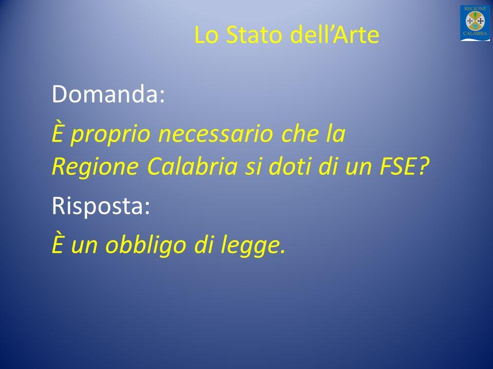 Lo Stato dellArte Domanda: È proprio necessario che la Regione Calabria si doti di un FSE? Risposta: È un obbligo di legge.