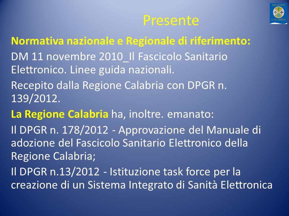 Presente Normativa nazionale e Regionale di riferimento: DM 11 novembre 2010_Il Fascicolo Sanitario Elettronico. Linee guida nazionali. Recepito dalla