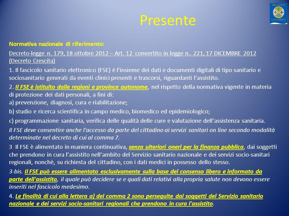 Presente Normativa nazionale di riferimento: Decreto-legge n. 179, 18 ottobre 2012 – Art. 12 convertito in legge n.. 221, 17 DICEMBRE 2012 (Decreto Cr