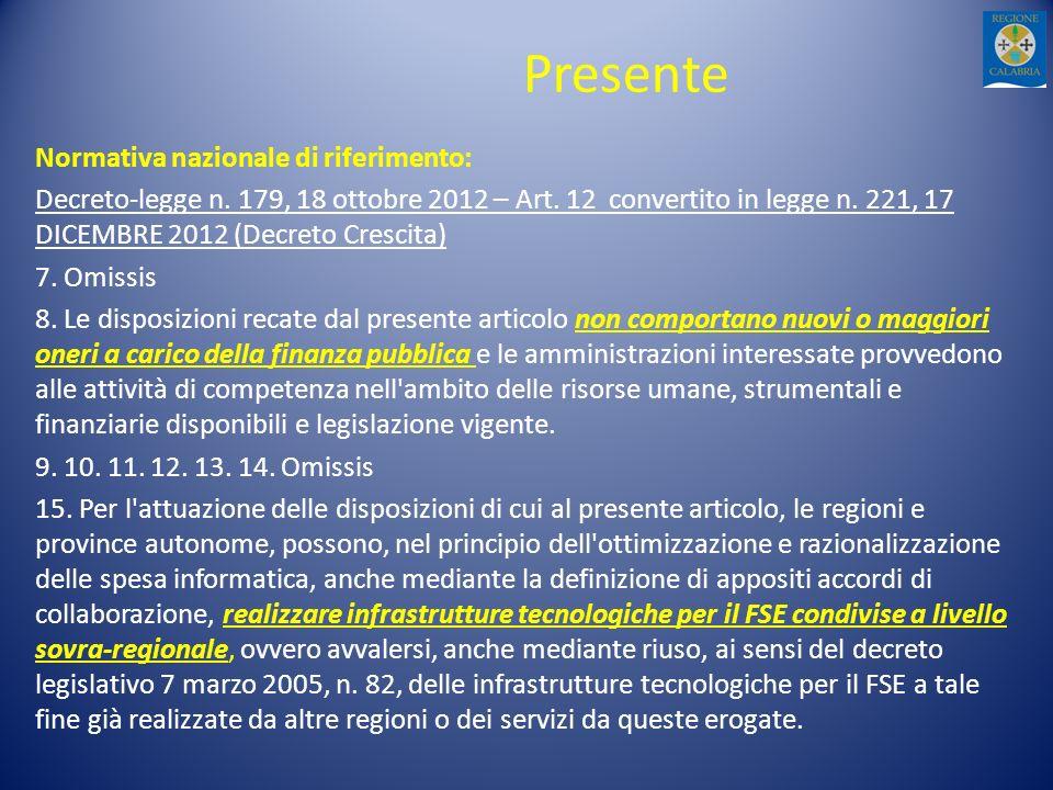 Presente Normativa nazionale di riferimento: Decreto-legge n. 179, 18 ottobre 2012 – Art. 12 convertito in legge n. 221, 17 DICEMBRE 2012 (Decreto Cre