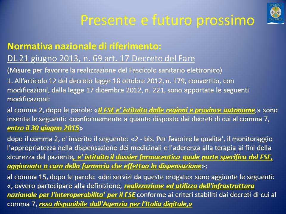 Presente e futuro prossimo Normativa nazionale di riferimento: DL 21 giugno 2013, n. 69 art. 17 Decreto del Fare (Misure per favorire la realizzazione