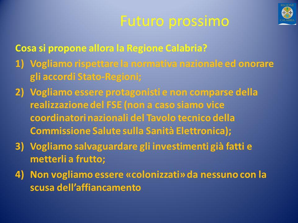 Futuro prossimo Cosa si propone allora la Regione Calabria? 1)Vogliamo rispettare la normativa nazionale ed onorare gli accordi Stato-Regioni; 2)Vogli