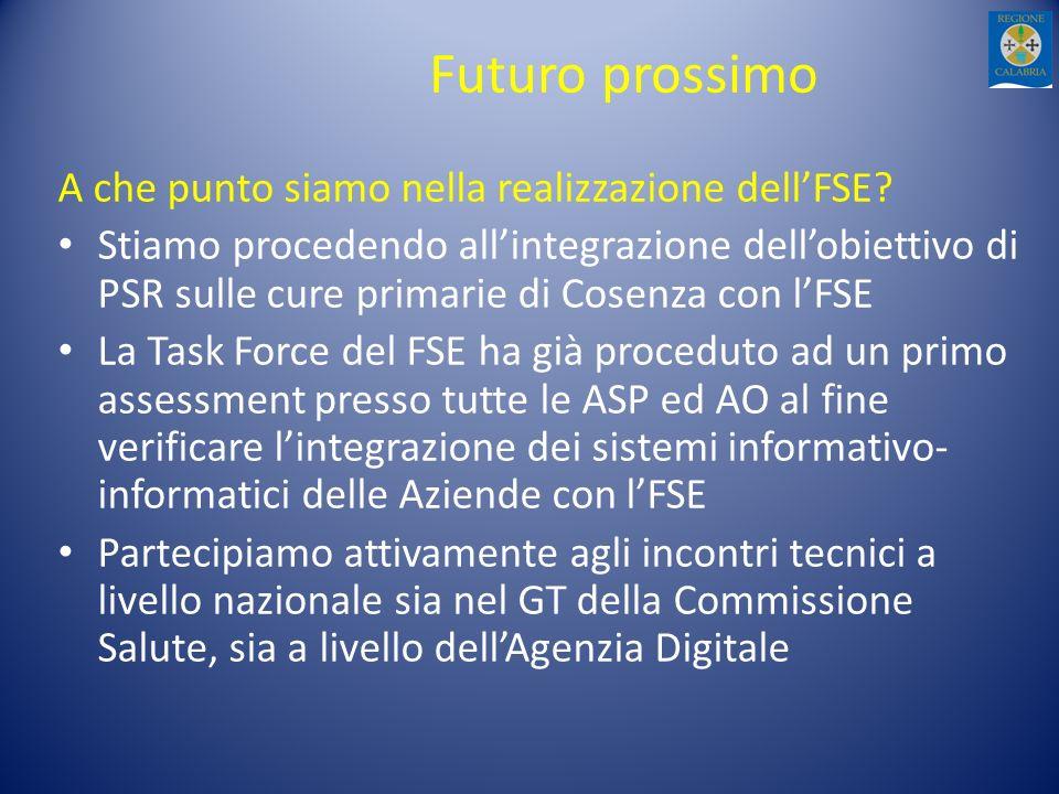 Futuro prossimo A che punto siamo nella realizzazione dellFSE? Stiamo procedendo allintegrazione dellobiettivo di PSR sulle cure primarie di Cosenza c