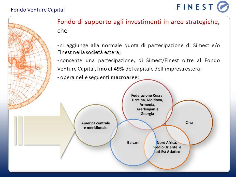 Fondo Venture Capital Fondo di supporto agli investimenti in aree strategiche, che - si aggiunge alla normale quota di partecipazione di Simest e/o Finest nella società estera; - consente una partecipazione, di Simest/Finest oltre al Fondo Venture Capital, fino al 49% del capitale dellimpresa estera; - opera nelle seguenti macroaree:
