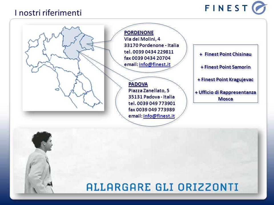 I nostri riferimenti PORDENONE PORDENONE Via dei Molini, 4 33170 Pordenone - Italia tel. 0039 0434 229811 fax 0039 0434 20704 email: info@finest.itinf