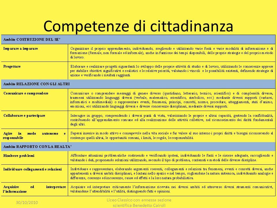 Competenze di cittadinanza 30/10/2010 Liceo Classico con annessa sezione scientifica Benedetto Cairoli