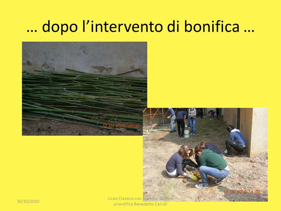 … dopo lintervento di bonifica … 30/10/2010 Liceo Classico con annessa sezione scientifica Benedetto Cairoli