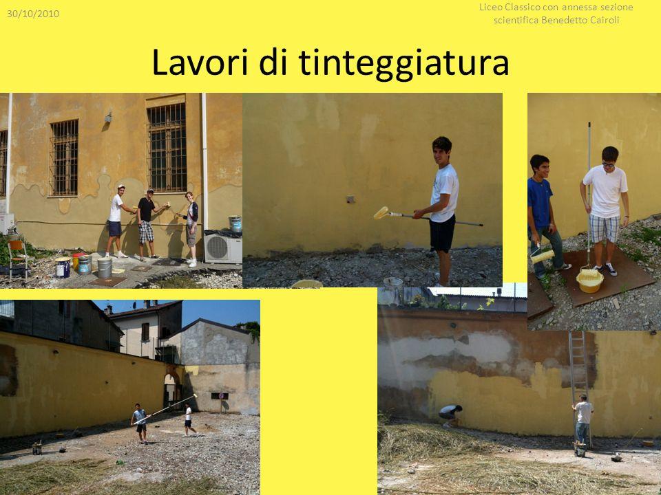 Lavori di tinteggiatura 30/10/2010 Liceo Classico con annessa sezione scientifica Benedetto Cairoli