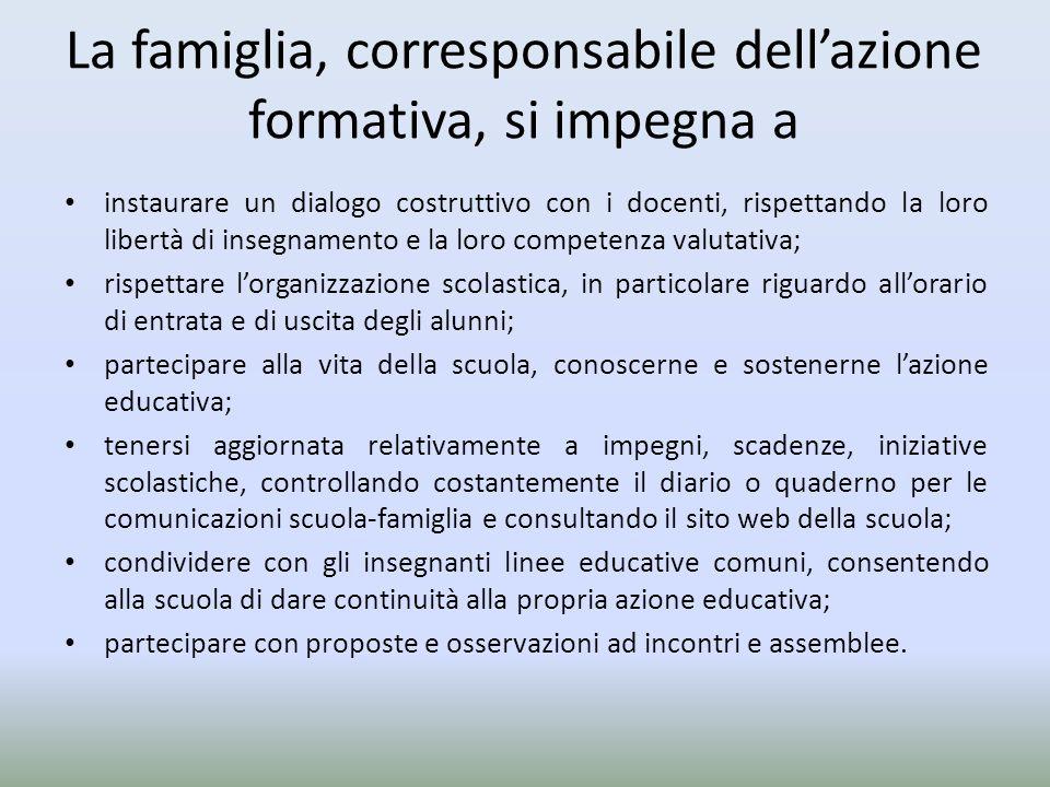 La famiglia, corresponsabile dellazione formativa, si impegna a instaurare un dialogo costruttivo con i docenti, rispettando la loro libertà di insegn