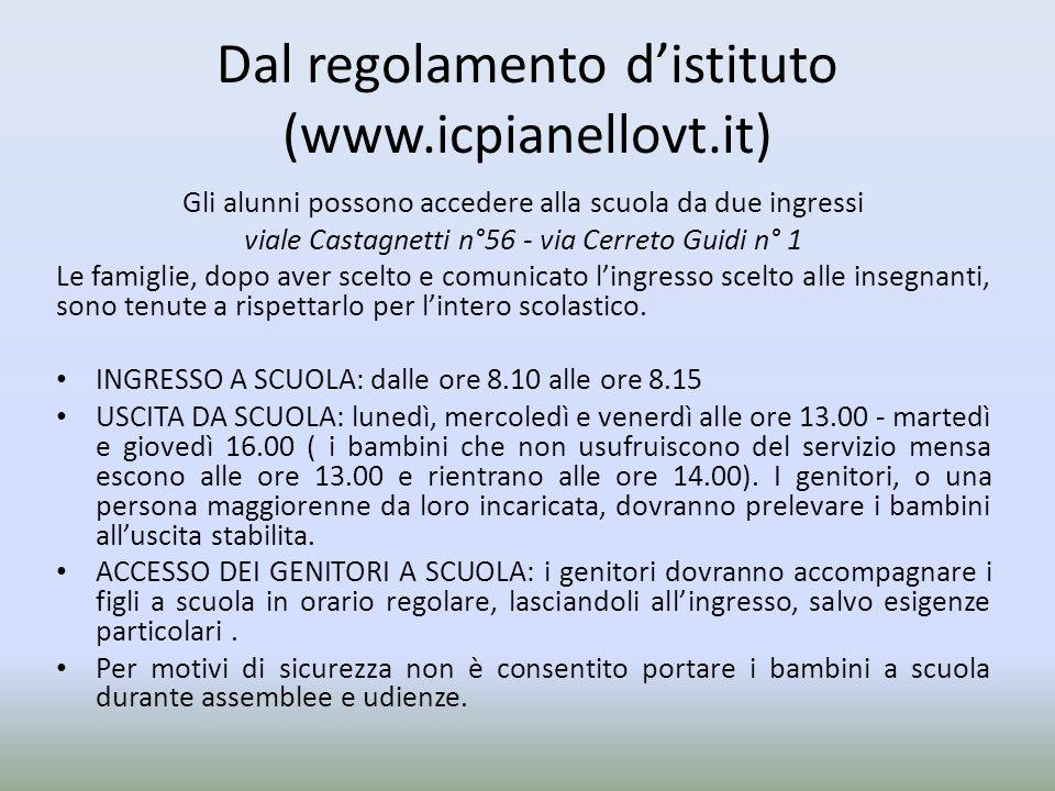 Dal regolamento distituto (www.icpianellovt.it) Gli alunni possono accedere alla scuola da due ingressi viale Castagnetti n°56 - via Cerreto Guidi n°