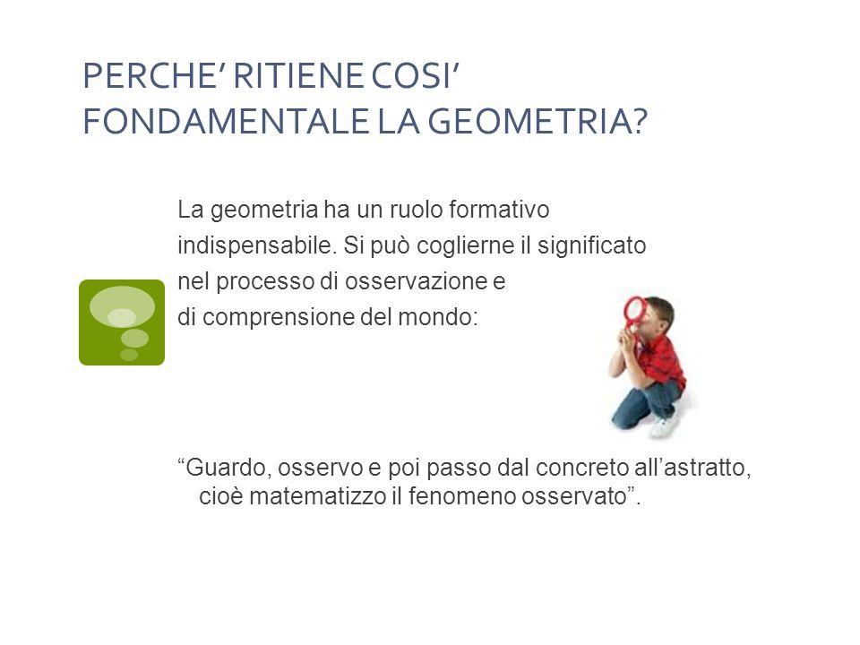 PERCHE RITIENE COSI FONDAMENTALE LA GEOMETRIA.La geometria ha un ruolo formativo indispensabile.