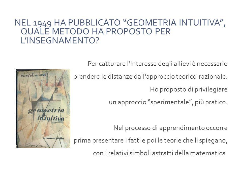 NEL 1949 HA PUBBLICATO GEOMETRIA INTUITIVA, QUALE METODO HA PROPOSTO PER LINSEGNAMENTO.