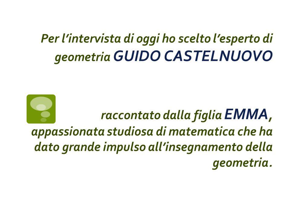 Siti di riferimento e bibliografia Emma castelnuovo Pentole, ombre e formiche, La Nuova Italia, 1993 lhttp://mathematica.sns.it/media/volumi/217/castelnuovo.pdf http://www.treccani.it/webtv/videos/Int_Emma_Castelnuovo_come_imparare_la_geometria.jsp# http://emmacastelnuovo.blogspot.it/p/emma-castelnuovo.html http://books.google.it/books?id=2kSPALCyWX4C&pg=PA186&dq=geometria+emma+castelnuovo&hl=it&sa=X&ei =X9wyUviSOI-M7Ab5q4BI&ved=0CGQQ6AEwCA#v=onepage&q=geometria%20emma%20castelnuovo&f=false http://books.google.it/books?id=2kSPALCyWX4C&pg=PA186&dq=geometria+emma+castelnuovo&hl=it&sa=X&ei =X9wyUviSOI-M7Ab5q4BI&ved=0CGQQ6AEwCA#v=onepage&q=geometria%20emma%20castelnuovo&f=false http://books.google.it/books?id=mojqXKcuBpkC&pg=PR13&dq=guido+castelnuovo+scoperte&hl=it&sa=X&ei=EuA yUruDIKuv7Aagx4CABA&ved=0CD4Q6AEwAg#v=onepage&q=guido%20castelnuovo%20scoperte&f=false http://books.google.it/books?id=mojqXKcuBpkC&pg=PR13&dq=guido+castelnuovo+scoperte&hl=it&sa=X&ei=EuA yUruDIKuv7Aagx4CABA&ved=0CD4Q6AEwAg#v=onepage&q=guido%20castelnuovo%20scoperte&f=false http://it.wikipedia.org/wiki/Scuola_italiana_di_geometria_algebrica http://www.musil.it/incontri/EmmaCastelnuovo/EmmaCastelnuovo.htm http://www.treccani.it/enciclopedia/la-seconda-rivoluzione-scientifica-matematica-e-logica-la-scuola-di- geometria-algebrica-italiana_(Storia-della-Scienza)/