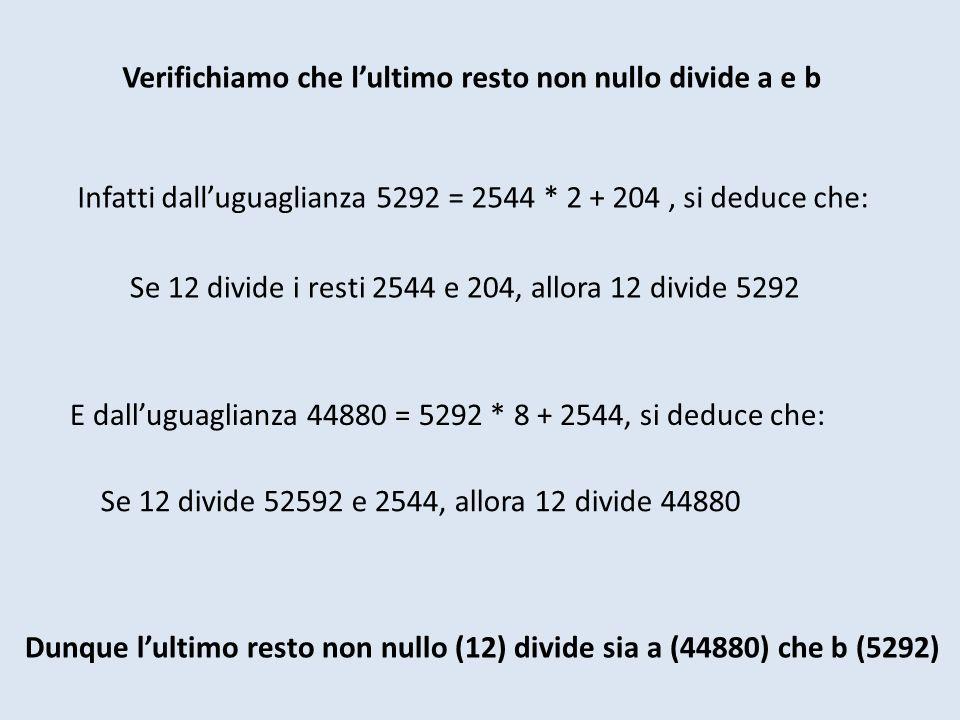 Verifichiamo che lultimo resto non nullo divide a e b Dunque lultimo resto non nullo (12) divide sia a (44880) che b (5292) Infatti dalluguaglianza 5292 = 2544 * 2 + 204, si deduce che: Se 12 divide i resti 2544 e 204, allora 12 divide 5292 E dalluguaglianza 44880 = 5292 * 8 + 2544, si deduce che: Se 12 divide 52592 e 2544, allora 12 divide 44880