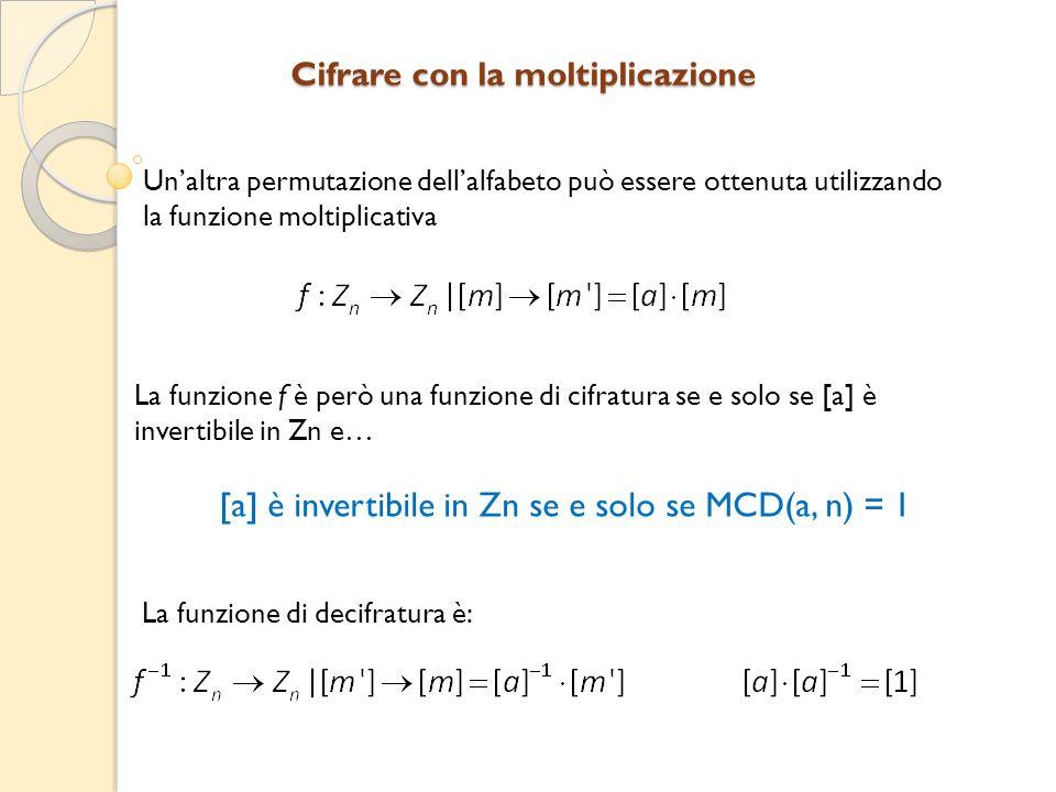 Unaltra permutazione dellalfabeto può essere ottenuta utilizzando la funzione moltiplicativa La funzione f è però una funzione di cifratura se e solo se [a] è invertibile in Zn e… [a] è invertibile in Zn se e solo se MCD(a, n) = 1 La funzione di decifratura è: Cifrare con la moltiplicazione