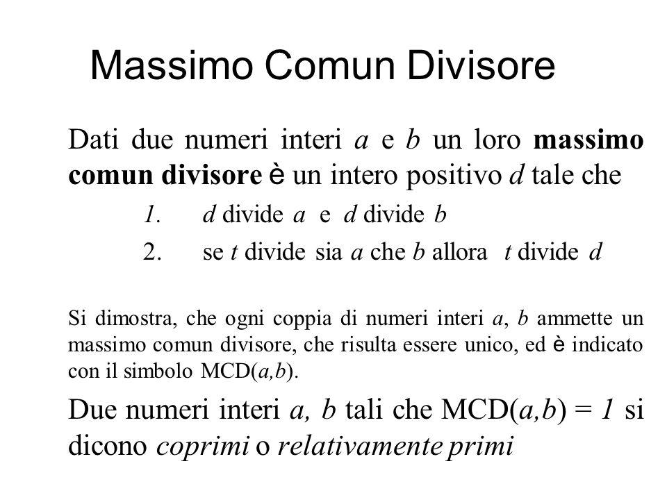 Massimo Comun Divisore Dati due numeri interi a e b un loro massimo comun divisore è un intero positivo d tale che 1.d divide a e d divide b 2.se t divide sia a che b allora t divide d Si dimostra, che ogni coppia di numeri interi a, b ammette un massimo comun divisore, che risulta essere unico, ed è indicato con il simbolo MCD(a,b).