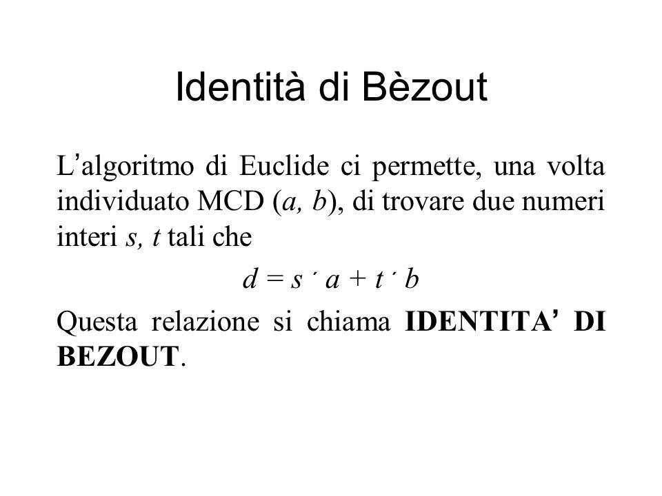 Identità di Bèzout L algoritmo di Euclide ci permette, una volta individuato MCD (a, b), di trovare due numeri interi s, t tali che d = s a + t b Questa relazione si chiama IDENTITA DI BEZOUT.