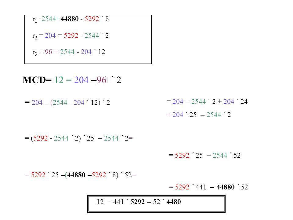 MCD= 12 = 204 – r 3 = 96 = 2544 - 204 12 r 2 = 204 = 5292 - 2544 2 r 1 =2544=44880 - 5292 8 12 = 441 5292 – 52 4480 = 204 – (2544 - 204 12) 2 = 204 –