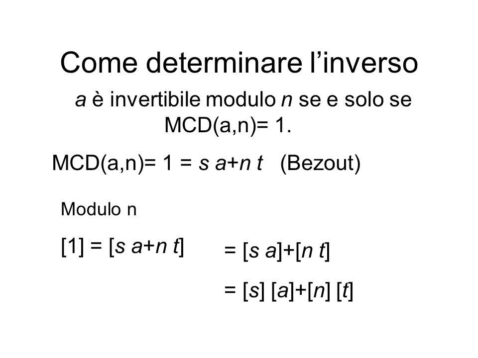 Come determinare linverso a è invertibile modulo n se e solo se MCD(a,n)= 1. MCD(a,n)= 1 = s a+n t (Bezout) Modulo n [1] = [s a+n t] = [s a]+[n t] = [