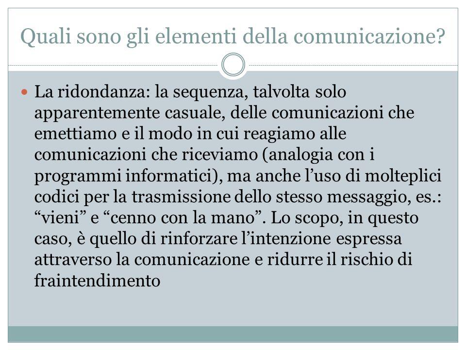 Quali sono gli elementi della comunicazione? La ridondanza: la sequenza, talvolta solo apparentemente casuale, delle comunicazioni che emettiamo e il