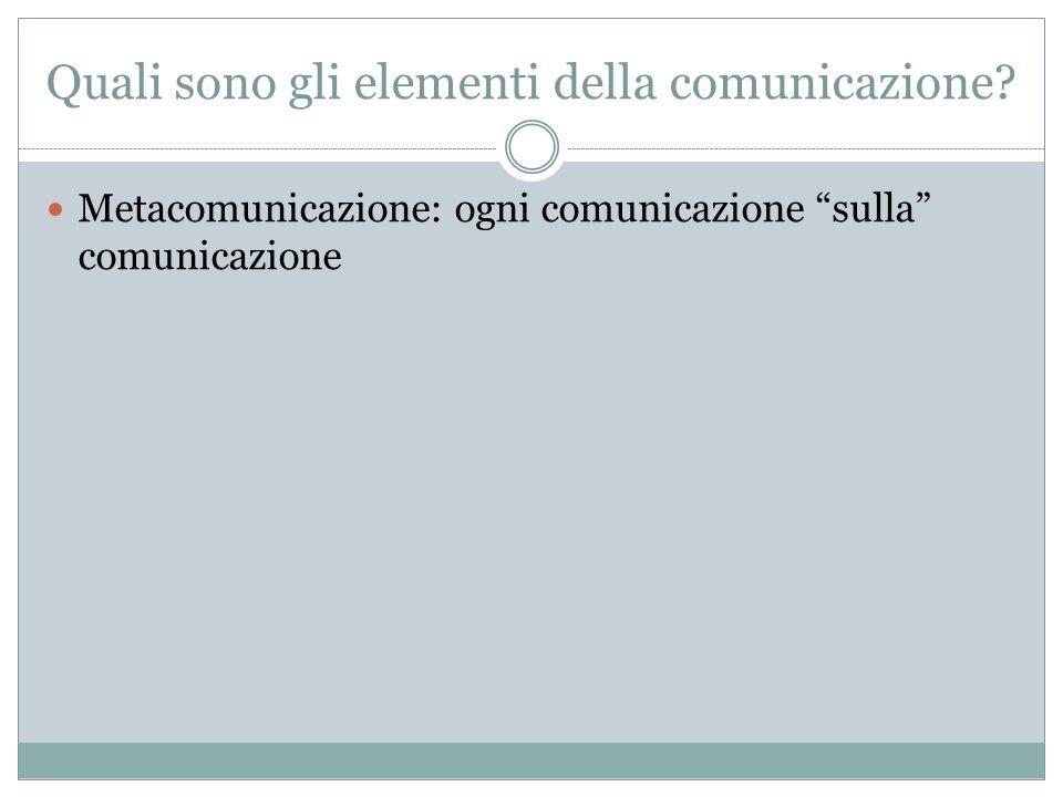 Quali sono gli elementi della comunicazione? Metacomunicazione: ogni comunicazione sulla comunicazione