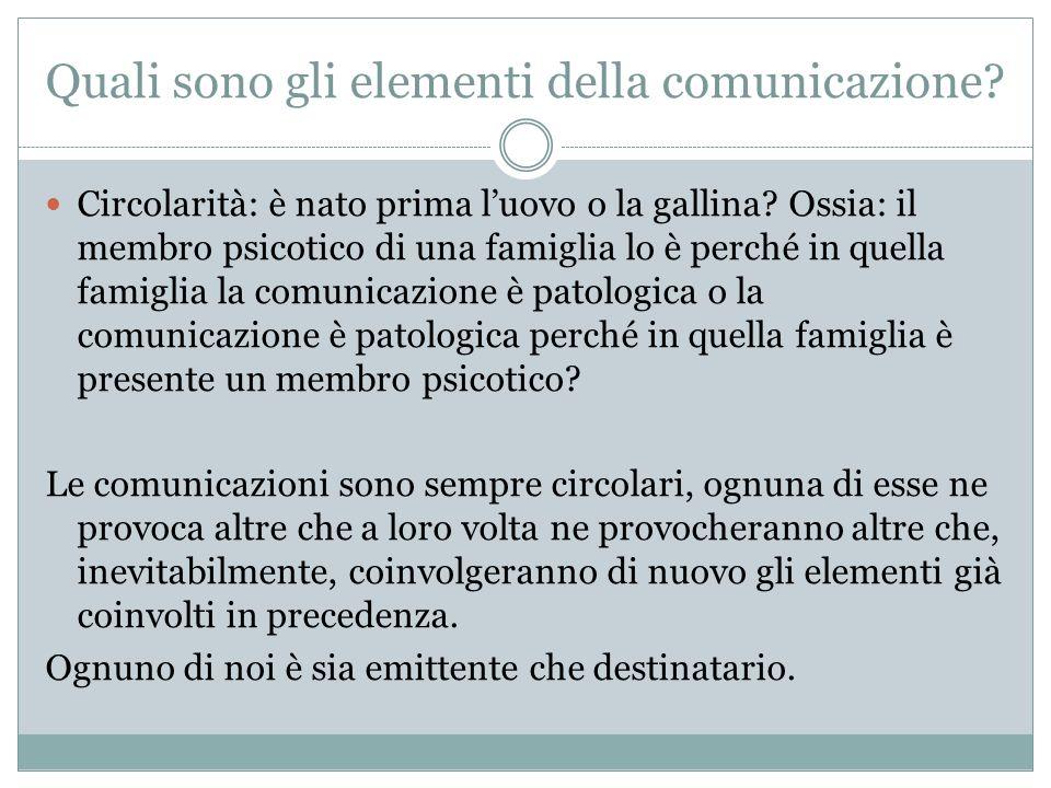 Quali sono gli elementi della comunicazione? Circolarità: è nato prima luovo o la gallina? Ossia: il membro psicotico di una famiglia lo è perché in q