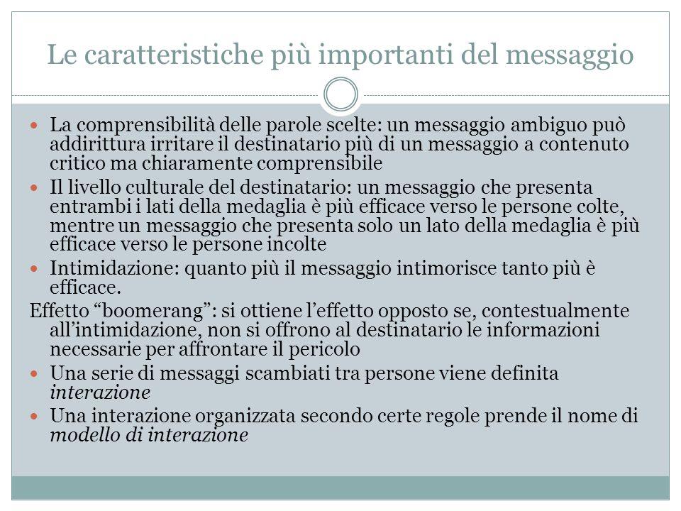 Le caratteristiche più importanti del messaggio La comprensibilità delle parole scelte: un messaggio ambiguo può addirittura irritare il destinatario