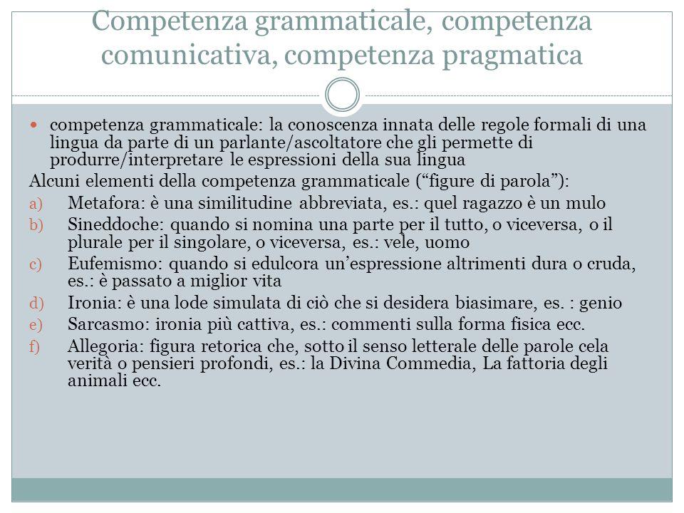 Competenza grammaticale, competenza comunicativa, competenza pragmatica competenza grammaticale: la conoscenza innata delle regole formali di una ling