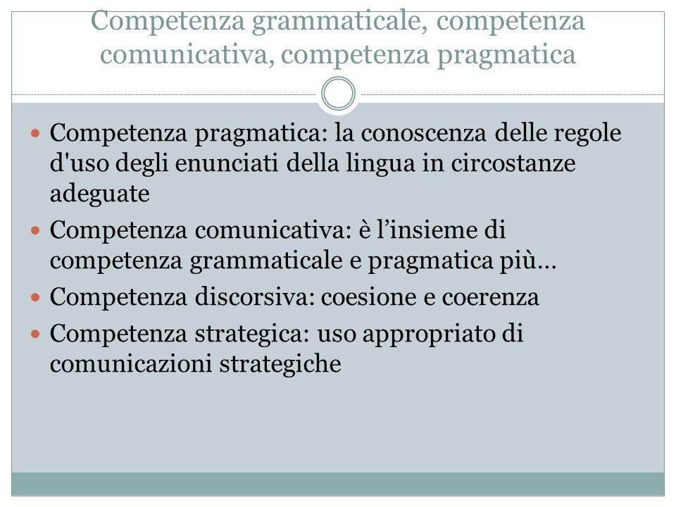 Competenza grammaticale, competenza comunicativa, competenza pragmatica Competenza pragmatica: la conoscenza delle regole d'uso degli enunciati della