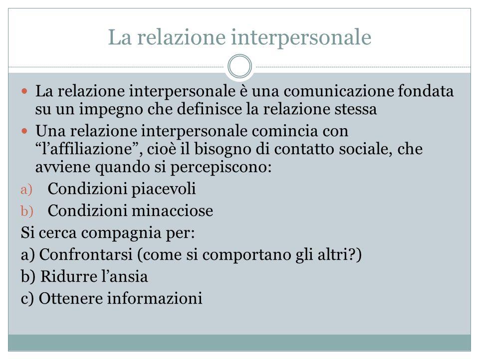 La relazione interpersonale La relazione interpersonale è una comunicazione fondata su un impegno che definisce la relazione stessa Una relazione inte