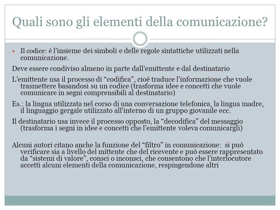 Quali sono gli elementi della comunicazione? Il codice: è linsieme dei simboli e delle regole sintattiche utilizzati nella comunicazione. Deve essere