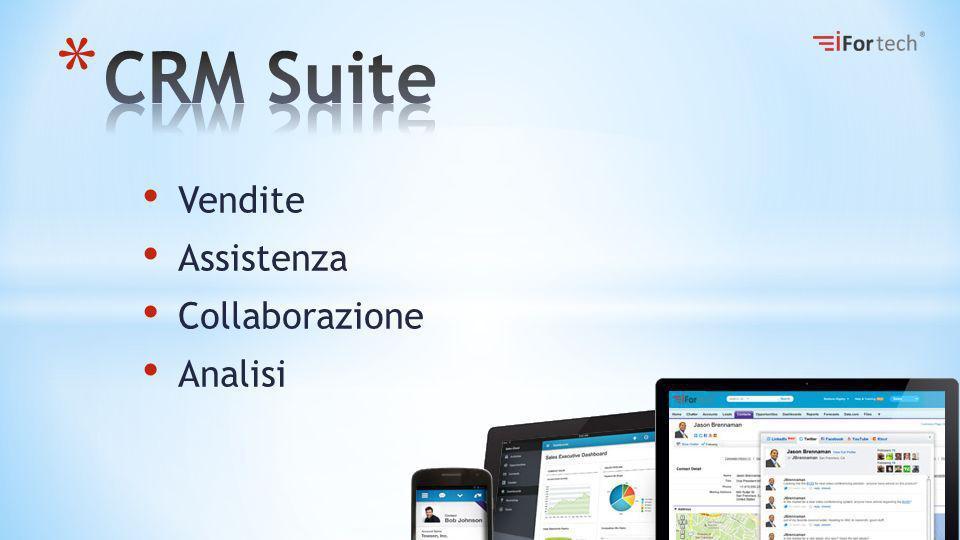 Caratteristiche La nostra suite CRM è fruibile interamente tramite web o dispositivi mobili, questo semplifica notevolmente le attività di deployment, aggiornamento e manutenzione allinterno dellazienda, non dovendo gestire alcun tipo di installazione sui dipositivi.