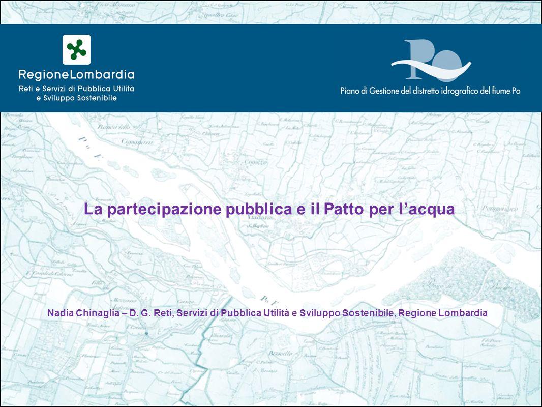 La partecipazione pubblica e il Patto per lacqua Nadia Chinaglia – D.