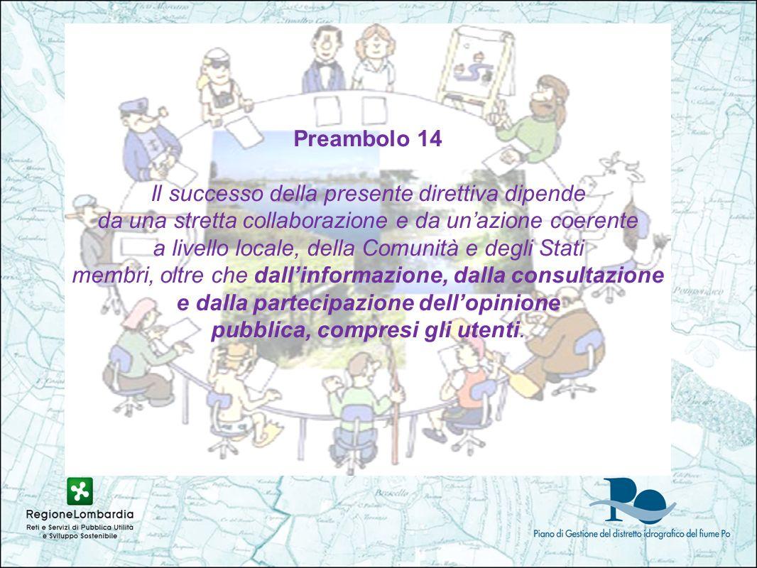 Preambolo 14 Il successo della presente direttiva dipende da una stretta collaborazione e da unazione coerente a livello locale, della Comunità e degli Stati membri, oltre che dallinformazione, dalla consultazione e dalla partecipazione dellopinione pubblica, compresi gli utenti.