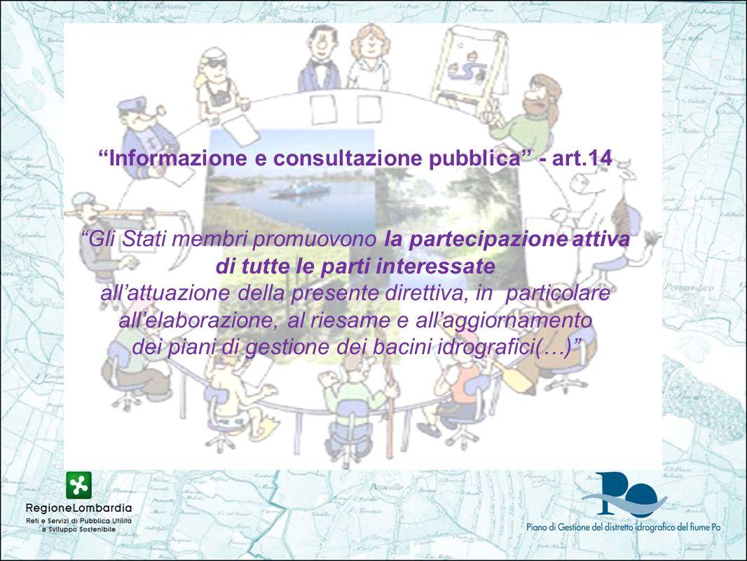 Informazione e consultazione pubblica - art.14 Gli Stati membri promuovono la partecipazione attiva di tutte le parti interessate allattuazione della presente direttiva, in particolare allelaborazione, al riesame e allaggiornamento dei piani di gestione dei bacini idrografici(…)
