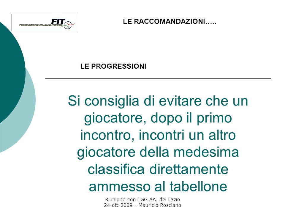 Riunione con i GG.AA. del Lazio 24-ott-2009 - Mauricio Rosciano LE RACCOMANDAZIONI….. Si raccomanda di prevedere compressioni con giocatori di pari cl