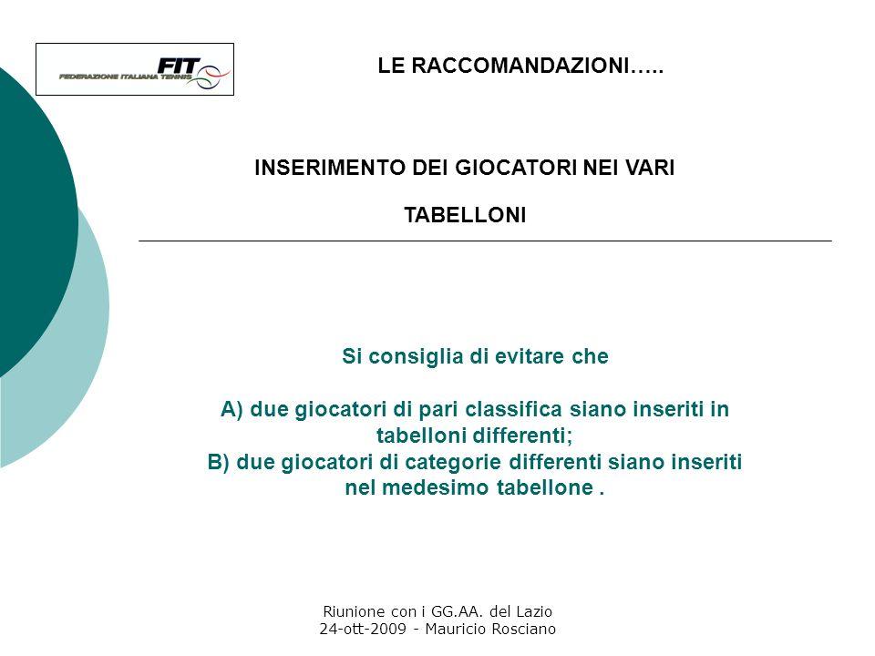 Riunione con i GG.AA. del Lazio 24-ott-2009 - Mauricio Rosciano LE RACCOMANDAZIONI….. Lobiettivo è che, dopo aver battuto un avversario di classifica