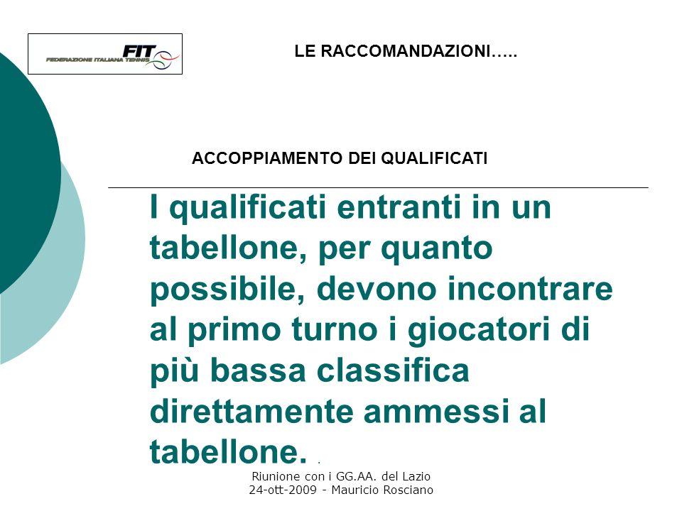 Riunione con i GG.AA. del Lazio 24-ott-2009 - Mauricio Rosciano Nei tabelloni di estrazione, un posto per ciascuna frazione del tabellone deve essere
